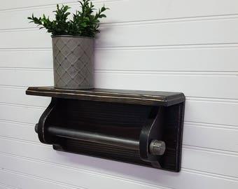 Rustic farmhouse hand towel shelf with pipe, Farmhouse bathroom, Apartment size towel bar with shelf, Housewarming, Industrial pipe shelf