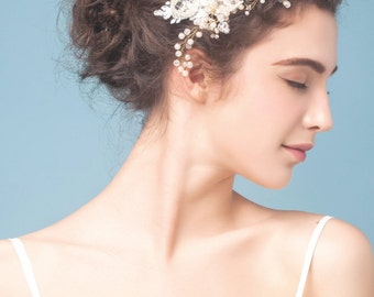 Bridal rhinestone comb, wedding lace headpiece, pearl beaded lace comb, wedding hair accessory