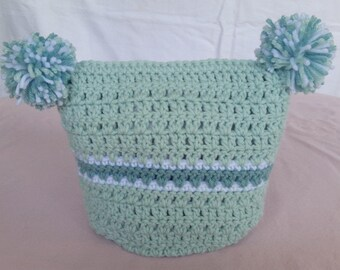 2 pompom crochet hat, crochet pompom beanie, green crochet beanie, pompom beanie, girls winter beanie, baby pompom hat, baby pompom beanie
