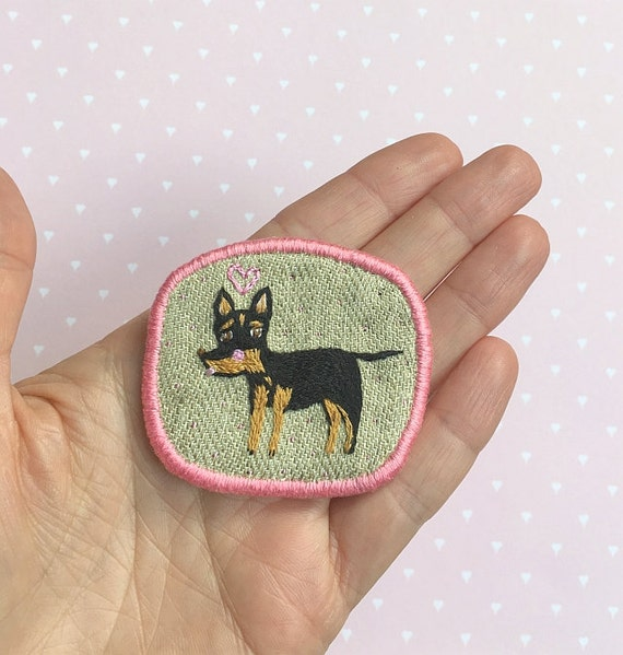 Embroidery Dog Brooch with Toy Terrier -  Funny Dogs - collection, hand embroidered textile dog jewelry. Terrier brooch.
