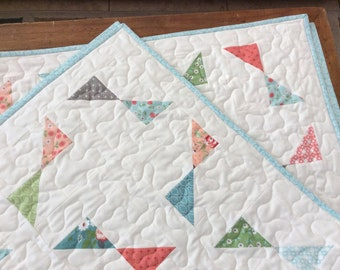 Modern Lap Quilt, Handmade Throw, Summer Blanket, Pink, Blue, Green, Homemade Quilts for Sale, Ready to Ship