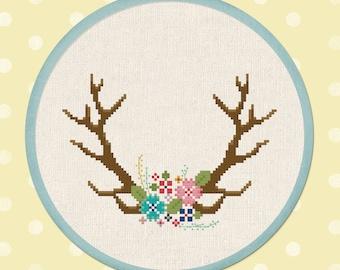 Blooming Antlers Cross Stitch Pattern, Pretty Modern Flower Floral Deer Antlers Boho Cross Stitch Pattern PDF Instant Download