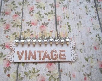10 Mini Rhinestone Clothespins, Vintage inspired Clips, Wedding Embellishment, Mini Rhinestone Wooden Clothespins