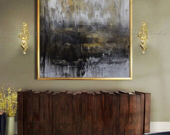 Abstract Oil Painting, Contemporary Art, Hand Made Large Art, extra large wall art, large wall decor, extra large canvas art Black and white