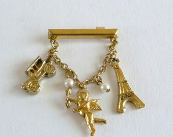 Chatelaine Brooch with Charms of Angel, Eiffel Tower, Automobile
