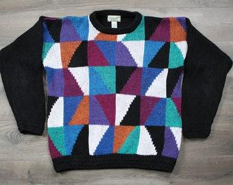 Vintage 90s St. John's Bay Geometric Pattern Crewneck Sweater, Medium