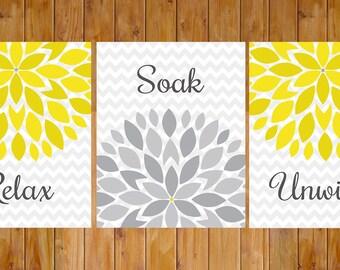 Blume Blumen Burst grau grau gelb 3er Set Wand-Dekor-Wellness-Bad entspannen einweichen entspannen 8 x 10-DIY druckbare JPG-Dateien (223)