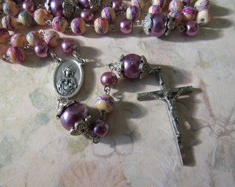 Rosary Multi Colored Mauve and Mauve Glass Beads