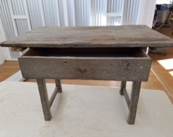 Antique Wooden Desk With a drawer