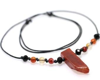 Carnelian Agate Crystal Bar Necklace: Natural Healing Boho Chic Bib, Orange, Red, Yellow & Black Rustic Handmade Hypoallergenic Jewelry Gift