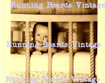 Vintage 1940s Smiling Baby in Crib!  Sweet Adorable Image to Download and Print  Out for Quilts, Decoupages, or Any Baby Craft Project!