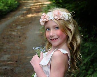 Blush flower headband-ready to ship -flower girl- blush headband -pink ivory headband-, pink tieback,flower girl, flower crown,