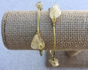 Natural Quartz Stone Wire-Wrapped Bangle Bracelet: The Rugged Quartz