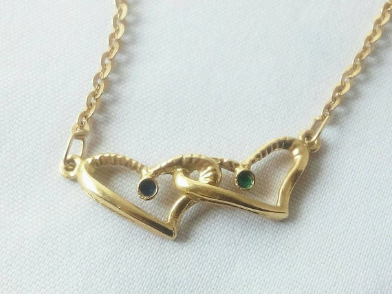 Vintage 18k Gold Double Heart Necklace - Valentine gift - Christmas gift