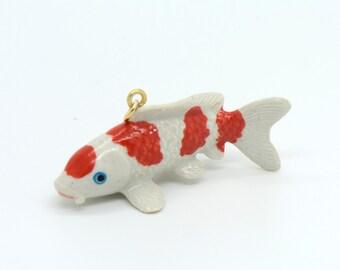 1 - Porcelain Koi Fish Pendant Hand Painted Glaze Ceramic Animal Small Ceramic Koi Bead Jewelry Supplies Little Critterz (CA120)