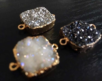 SALE Square Druzy Connector Mystic Druzy Link Charm Titanium Double Bail Connector Pendant with Gold Electroplated Edges (S8W2-04)