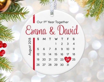 Personalized Ornament for Anniversary Gifts, First Anniversary Ornament, Christmas Gift for Wife Gift, Wedding Present 10th Anniversary gift