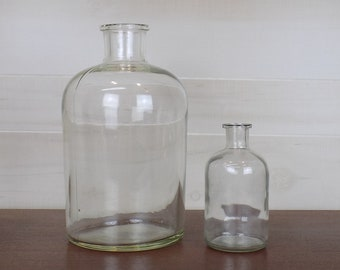 Vintage Apothecary Lab Glass Bottles - set of two!