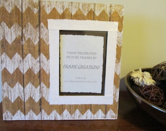 5x7 Stripe/Wood Themed - Hand Decorated Picture Frame