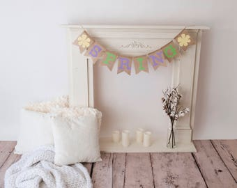 Burlap and felt SPRING Banner with Flowers, Green Spring Banner, Purple Spring banner, Yellow Spring Banner, Easter Decor, Easter Banner