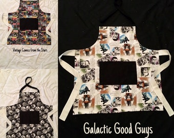 Intergalactic Handmade Aprons for Cooking, Baking, Cleaning or Crafts - 100% Cotton and Fully Lined