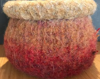 Felted Wool Bowl - Medium - Functional Art Pod - 'Whiskey and Wine'