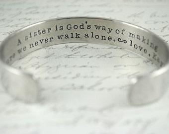 A Sister is God's Way of Making Sure We Never Walk Alone Secret Message Cuff Bracelet