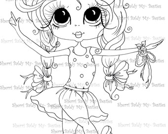 INSTANT DOWNLOAD Digital Digi Stamps Big Eye Big Head Dolls Digi  My - Besties  IMG310 By Sherri Baldy