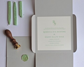 Wax Seal Letterpress Wedding Invitation Sample
