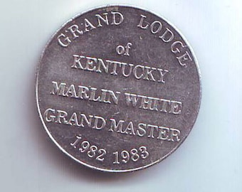 Masonic Token Exonumia Grand Lodge of Kentucky Marlin White Grand Master 1982 1983