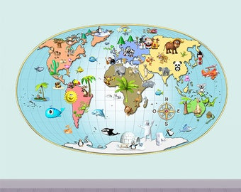 Wall decals world map A534 - Stickers planisphere A534
