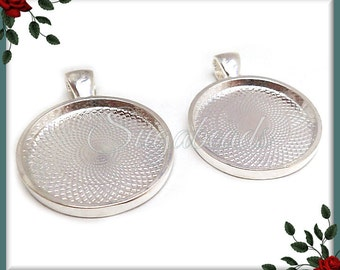 Round silver tray etsy 6 pcs round 1 inch silver plated pendant trays silver plated cabochon trays 25mm ps189 aloadofball Choice Image