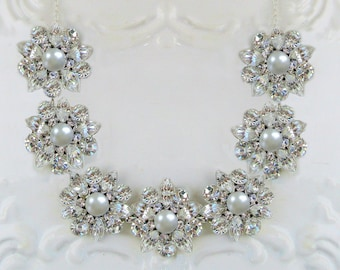 silver Wedding Necklace Bridal jewelry pearl statement necklace crystal bridal necklace
