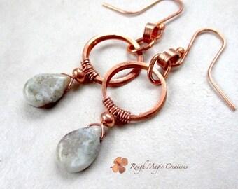 Long Copper Earrings, Earthy Gray Gemstone, Rustic Primitive Jewelry, Gypsy Style Boho Jewelry, Ocean Jasper Semi Precious Stones E460