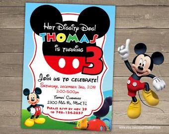 Mickey Mouse Invitation, Mickey Mouse Birthday Party, Third Birthday Invitation, Mickey Invite, Birthday Invitation