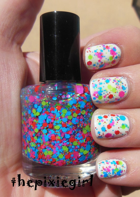 Bright Neon Glitter Indie Nail Polish Top Coat Lacquer