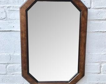 Vintage Octagonal Wall Mirror Wood Frame #661