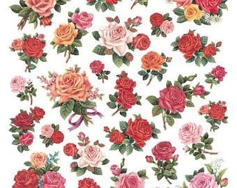 Classic Roses Stickers • Rose Flower Glitter Sticker • Botanical • Blossoms • Spring • Gardening • Floral Sticker • Roses Sticker (SK4911)