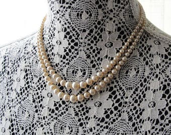 Vintage 1950s Lovely Double-strand Pearl Bead Necklace Bridal Wedding Evening Costume Jewelry