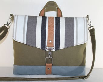 Stripe Canvas iPad Messenger Bag Detachable Strap