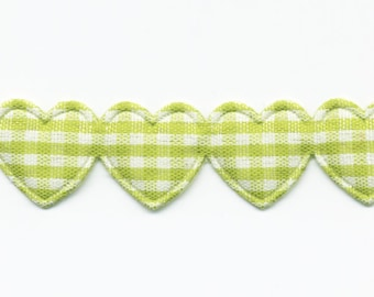 Ribbon Garland of hearts gingham anise C16 by the yard