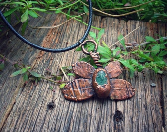 Butterfly necklace, electroformed, moss agate, leaf pendant, nature jewellery, copper leaf