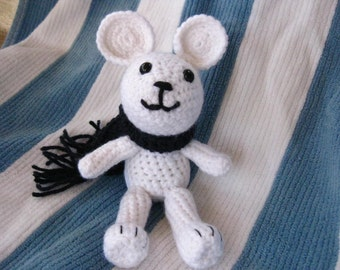 Crochet White Mouse Soft Small Yarn Child Toy with Safety Eyes Baby Shower or Easter Gift with Blue Scarf Inexpensive Present Free Shipping