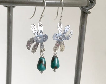 Sterling Dragonfly & Turquoise Earrings