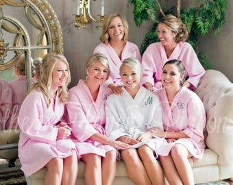 BRIDAL PARTY ROBES - Blush Cotton Robes - Wedding Robes - Waffle Weave Robes - Spa Robe - Bridesmaids Robes - Wedding Party Gifts - Coverup