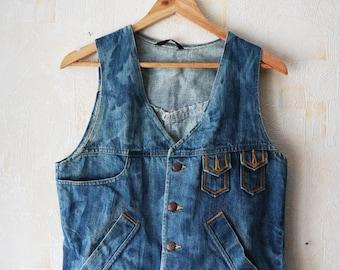 Vintage Denim Vest Blue Jeans Vest Dyed effect Vest Vintage Denim Sleeveless Vest Vestern Hippie Made in Finland
