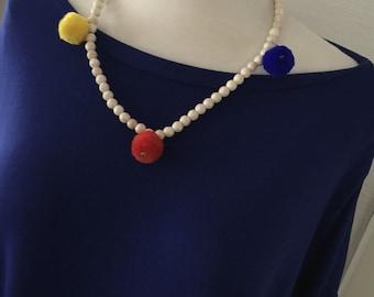 Pom Pom Bracelet, Stretch Bracelet, Off white wooden bracelet with multi color Pom Pom, Gift for her, Everyday use