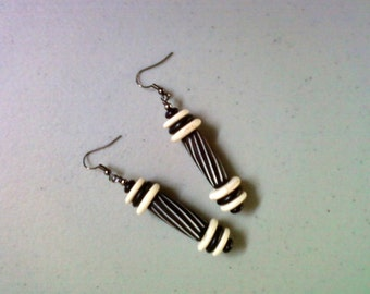 Chunky Black and White Ethnic Style Earrings (1407)