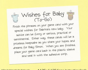 Wishes for Baby To-Go - Long Distance Baby Shower Game - Hopes and Dreams for Baby - Onesie Baby Shower Theme