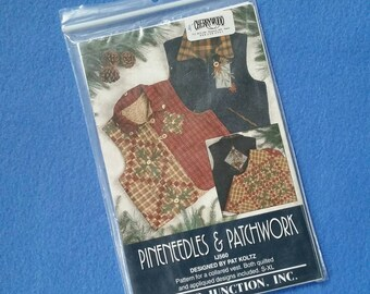 Pineneedles and Patchwork IJ560 - pattern for collared vest with quilted and applique designs by Pat Koltz, size S-XL Indygo Junction